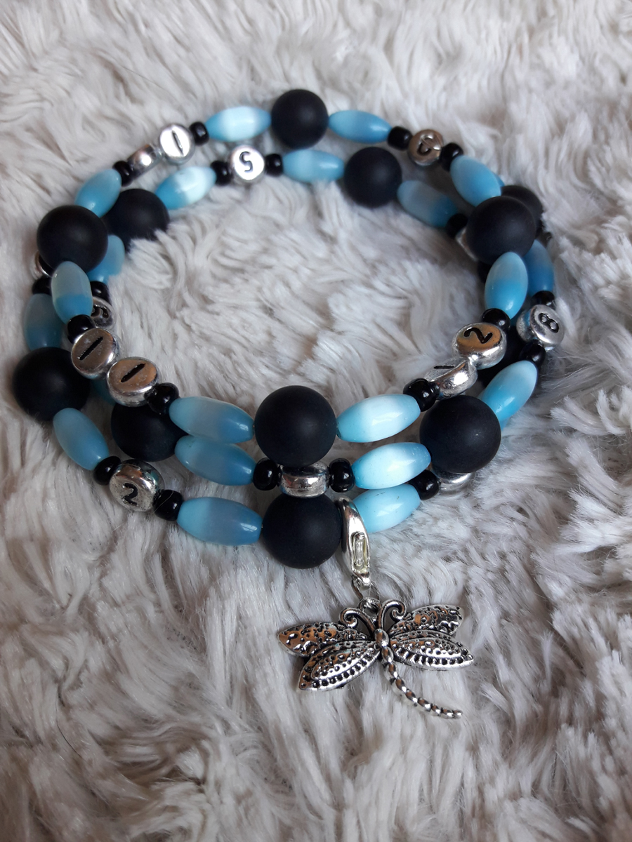 Bracelet bleu libellule
